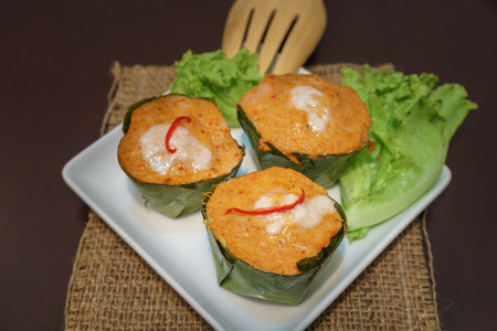 fish type: Fish curry in banana leaves is called Hor Mok in Thai (a type of Thai steamed curry)