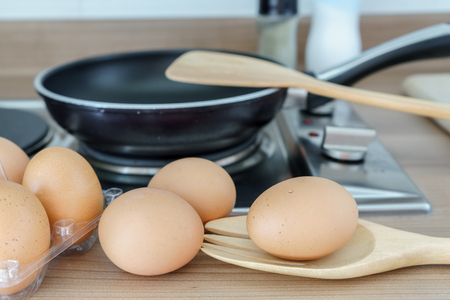 sackcloth: chicken eggs in the kitchen, to prepare for cooking Stock Photo