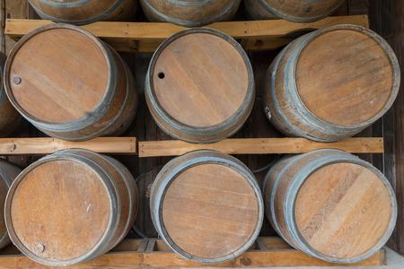 oak barrel: Wooden barrel or oak barrel shown in outdoor Stock Photo