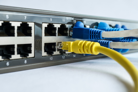 data link: Network cable connect to switching hub in close up