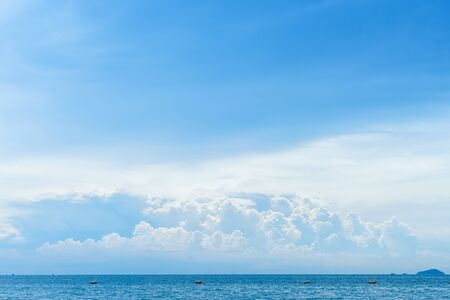 sky: Blue sky with cloud and tropical sea in Thailand Stock Photo