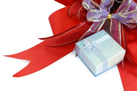 greeting season: Gift box with red ribbon for greeting season, Xmas gift box