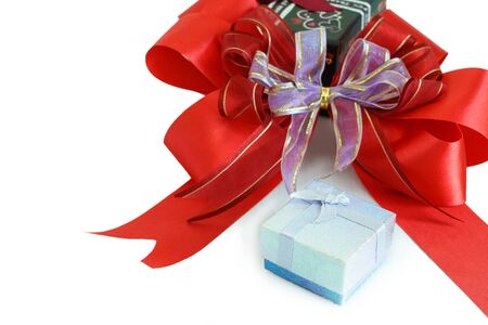 greeting season: Gift box and red ribbon for greeting season, Gift box background