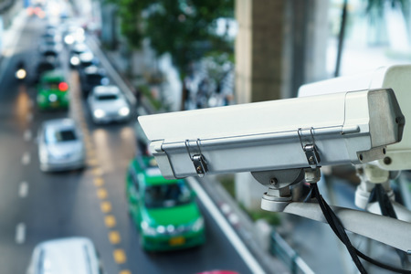 security monitor: CCTV camera to traffic monitor and road security, Outdoor security