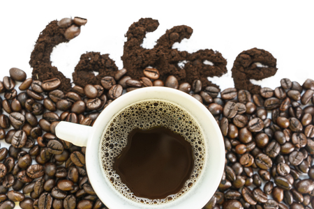 seeds coffee: Cup of Coffee and Coffee Beans Background with Coffee word