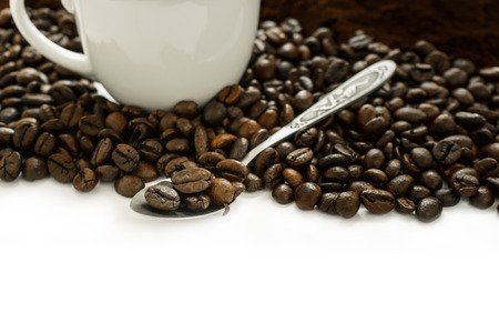 frijol: Granos de caf� en la cuchara, Dise�o Caf� Concepto Antecedentes