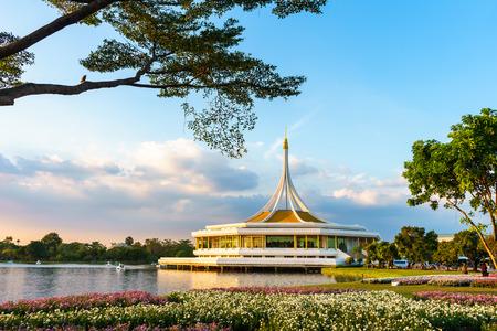 city park pavilion: Flower in Public Park is call Suan Luang Rama IX, The Popular Public Park in Bangkok Thailand Stock Photo