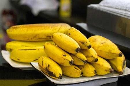 banana skin: organic bananas on the dish Stock Photo