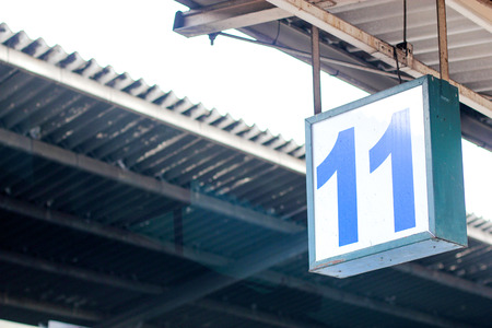 mounted: Signboard  White Number 11 display perspective