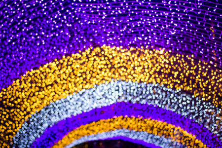 Purple blue and Yellow arc shape Abstract Bokeh Background Stock Photo