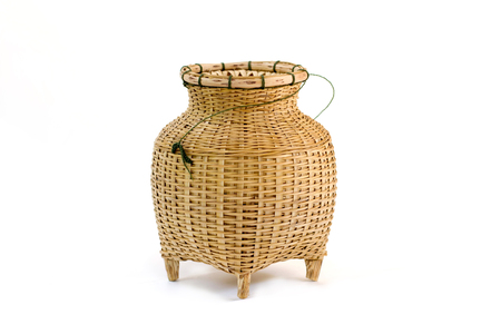 a bamboo container for caught fish, a fishtrap. traditional container thailand