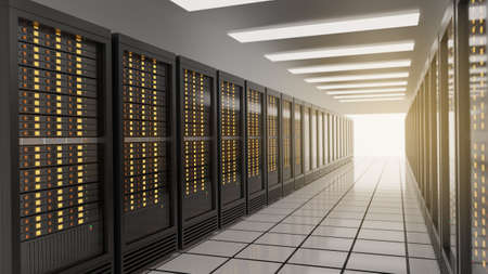 Row of server racks in computer network internet security server room data center. Blue theme color image. 3D rendering image
