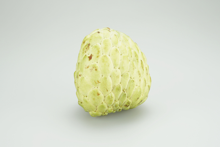 sweetsop: Custard apple, sugar apple, sweetsop or annona squamosa on a white background. Stock Photo