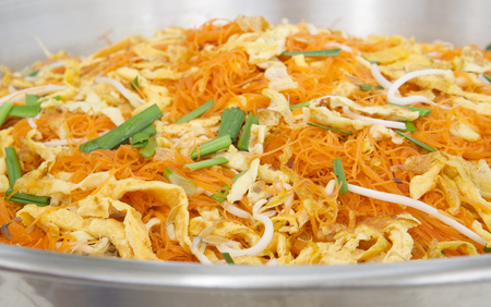 padthai: Thai Fried Noodles or padthai in a stainless steel basin. Stock Photo