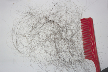 Black hairloss fall on the white ground with red comb.