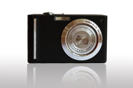 Black digital camera  on White Backgroud photo