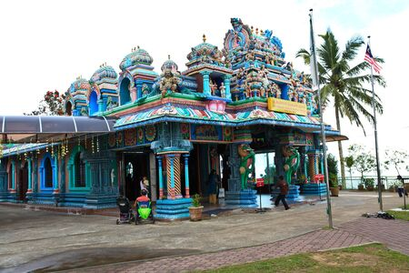 Close up of SRI ARULOLI THIRUMURUGAN Temple with blue sky , Penang Hill Malaysia