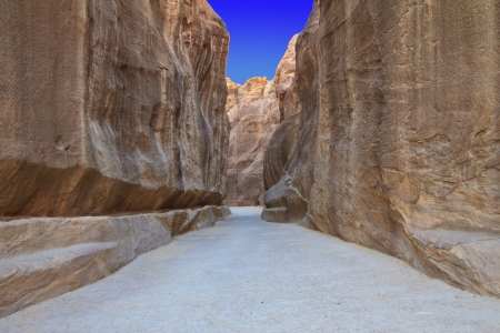 As-Siq Petra, Lost rock city of Jordan.  UNESCO world heritage site and one of The New 7 Wonders of the World. Stock Photo