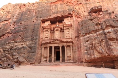 Facade of the Treasury in Petra, Jordan photo