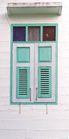 Vintage window on white wall Stock Photo - 18217645