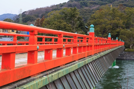 bridge over water: A red bridge over water Japan Stock Photo