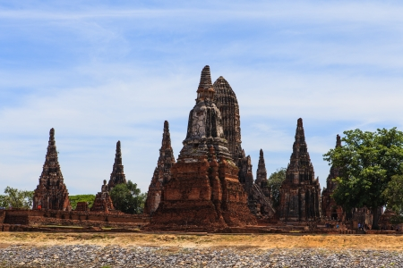 Chaiwatthanaram temple at Ayutthaya in Thailand and most famous for tourist take photo from the river. photo
