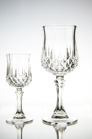 Two Empty wine glass. isolated on a white background photo