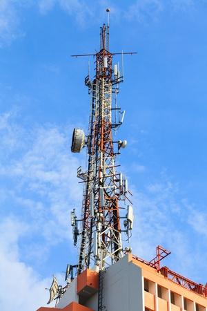 Communication Station with blue sky. photo