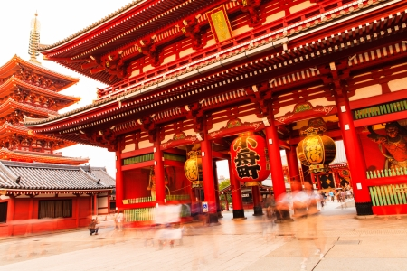 japanese temple: Sensoji-ji Red Japanese Temple in Asakusa, Tokyo, Japan Stock Photo