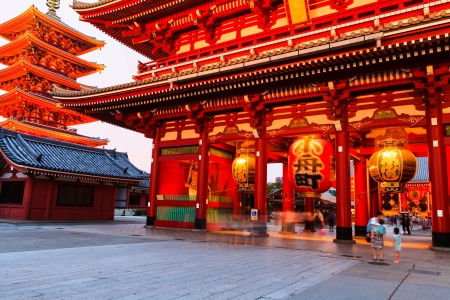 Sensoji-ji Red Japanese Temple in Asakusa, Tokyo, Japan photo