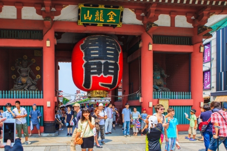 SENSOJI TEMPLE, JAPAN- August 11, 2013  The Kaminarimon  Thunder Gate , the outer gate of Sensoji Temple and the symbol of Asakusa, Tokyo, Japan  August 11 2012