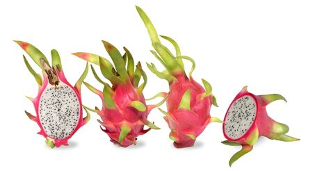 Pink dragon fruit. Fruitage of cactus is tropical fruit. Have sweet refreshing flesh, soft, juicy with small black seeds like a sesame seeds sour and sweet taste. Feel refreshed when eating. Eaten by  写真素材