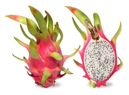 Pink dragon fruit. Fruitage of cactus is tropical fruit. Have sweet refreshing flesh, soft, juicy with small black seeds like a sesame seeds sour and sweet taste. Feel refreshed when eating. Eaten by cutting in half lenghtways or across and then use a spoon to scoop. Dragon fruit are rich in dietary fiber and vitamin c.