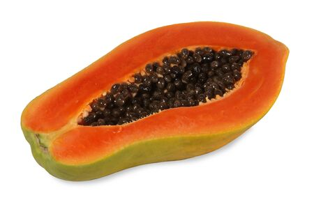 Papaya is a kind of fruit. When ripe will be yellow to orange. Simply cut the papaya in the half of the cavity. The soft juicy, sweet flesh tastes like across between peaches and melons. Papaya are ri 写真素材