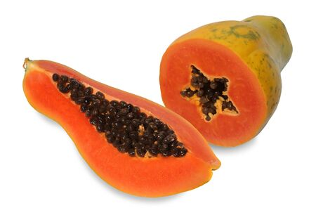 Papaya is a kind of fruit. When ripe will be yellow to orange. Simply cut the papaya in the half of the cavity. The soft juicy, sweet flesh tastes like across between peaches and melons. Papaya are rich in vitamin A and calcium. Reklamní fotografie