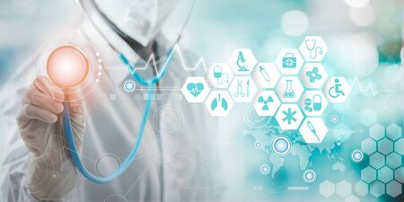 Health care and medical services concept with circular AR interface and female doctor using stethoscope.
