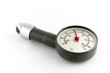 Isolated tired pressure gauge photo
