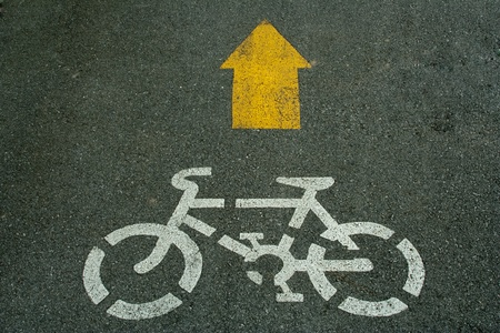 Bicycle sign lane on road photo