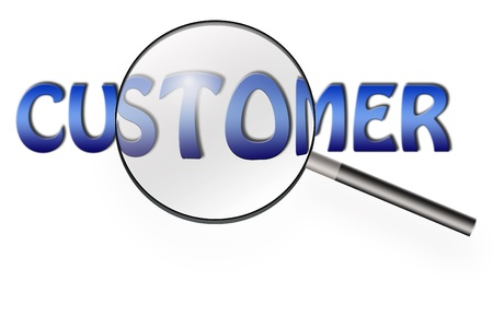 customer focus: magnifying glass searching on customer word of bussiness concept