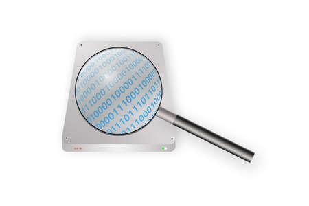 harddisk: magnifying glass scaning on harddisk
