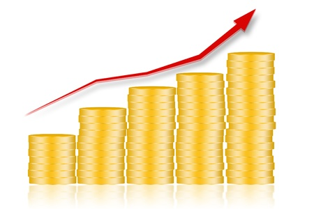 gold bar earn: Illustration of stack of golden coins in concept profit growing