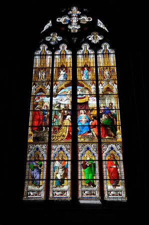 COLOGNE, GERMANY - JUNE 12, 2012 : Stained glass window at Cologne Cathedral