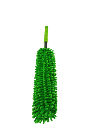 Green fabric duster on a white background photo