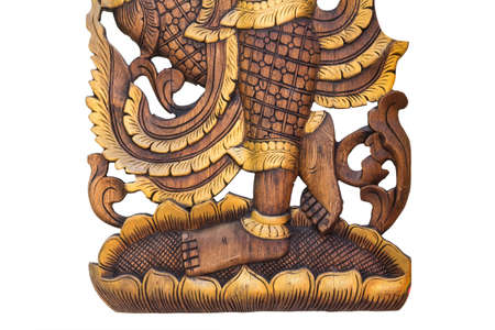 himmapan: Kinnaree pattern carved Thailand isolate on white backgrounds