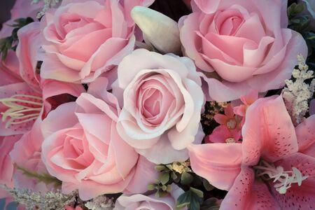 Rose pink flower plastic vintage background