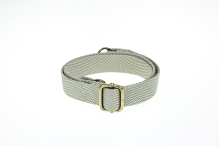 Gray double carabiner lock on a leather belt on white backgrounds