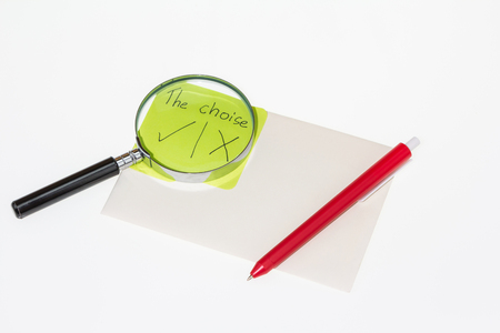 Idea Magnifying glass with paper documents  on white background Stock Photo