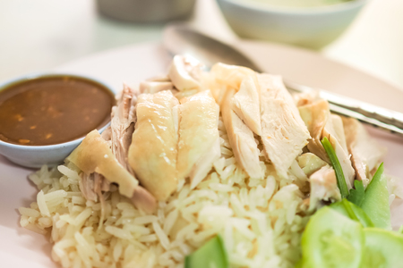 Hainanese chicken rice. Thai Food - Khao Man Gai Foto de archivo