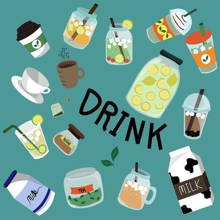ice tea: set of drink