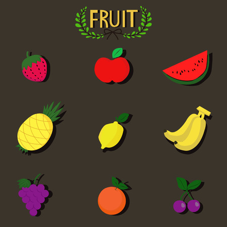 fruit set Иллюстрация